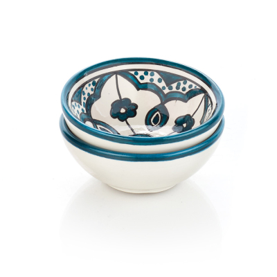 Teal Jasmine West Bank Dipping Bowls - Set of 2