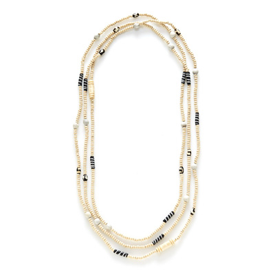 African Batik Long Natural Necklace