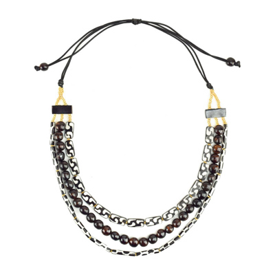 African Batik Triple Strand Necklace