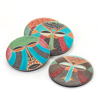 Teke Mask Coasters - Set of 4