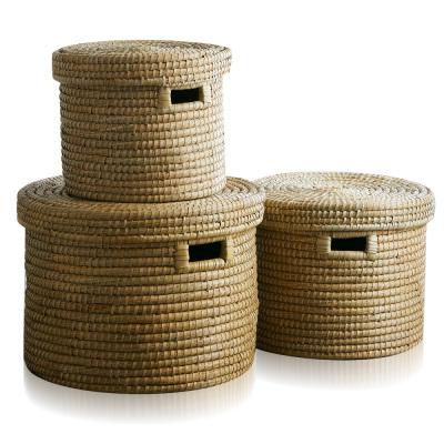 Natural Round Kaisa Grass Baskets (XL) Set of 3