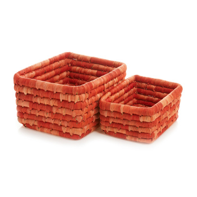 Corn Husk Basket Set - Red