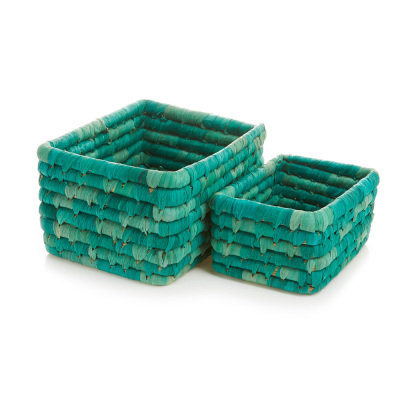 Corn Husk Basket Set - Sea Green