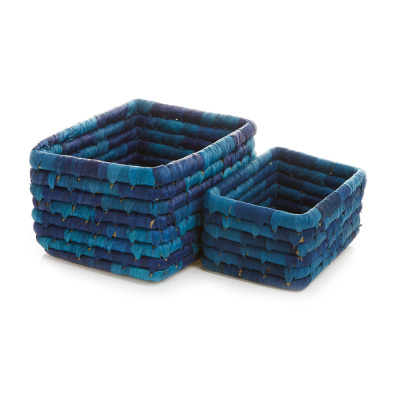 Corn Husk Basket Set - Blue