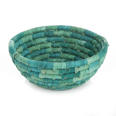 Corn Husk Basket - Round Sea Green
