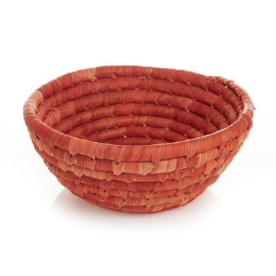 Corn Husk Basket - Round Red