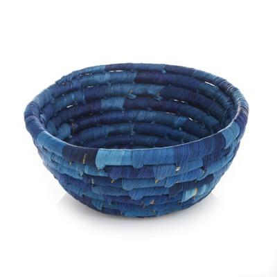 Corn Husk Basket - Round Blue