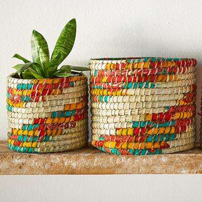 Chindi Swirl Plant Basket Set