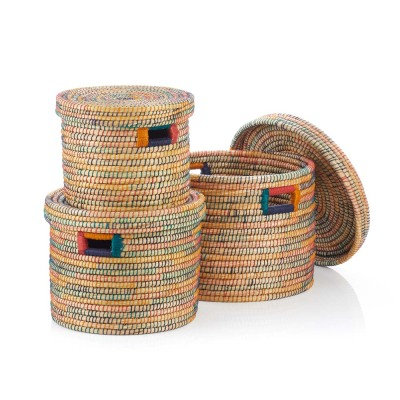 Rainbow Round (XL) Jute-Wrapped Baskets - Set of 3