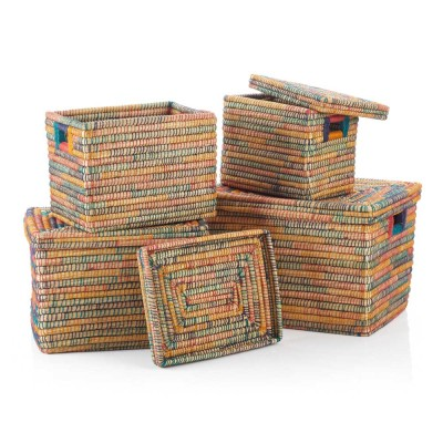 Rainbow Rectangle Jute-Wrapped Baskets (XL) - Set of 4