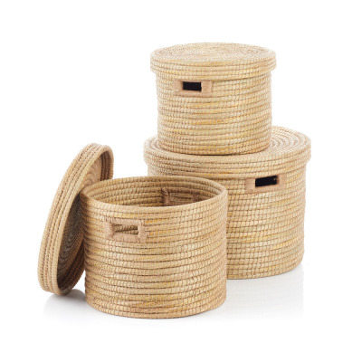 Natural Round Jute-Wrapped Baskets (XL) - Set of 3