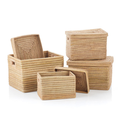 Natural Rectangle Jute-Wrapped Baskets (XL)- Set of 4