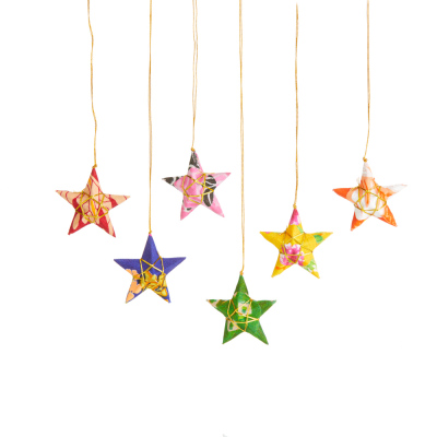 Recycled Sari Star Ornaments - Set of 6