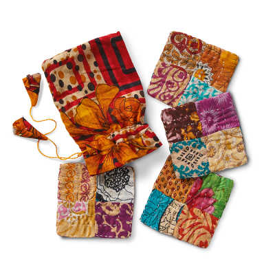Patchwork Kantha Coasters - Set of 4