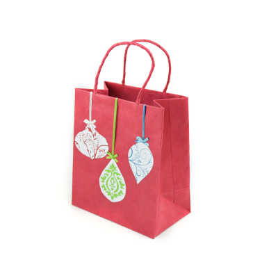 Red Ornament Gift Bags, Set of 5