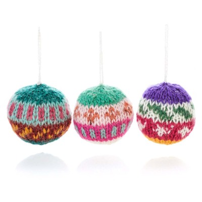Nepali Remnant Ball Ornaments - Set of 3