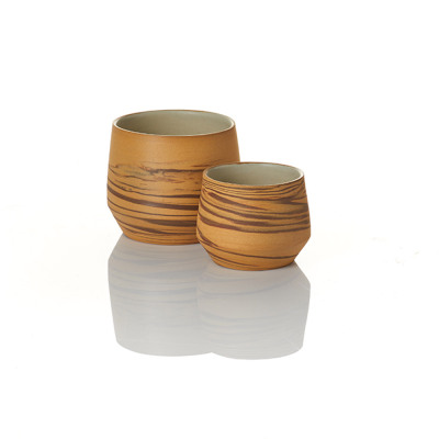Tiger Stripe Ceramic Pots - Set of 2
