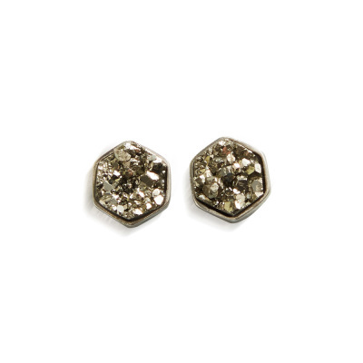 Pyrite Druzy Post Earrings
