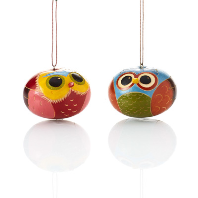Brilliant Owl Gourd Ornaments - Set of 2