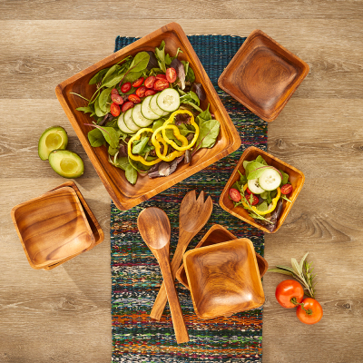 Acacia Wood 9-Piece Salad Set