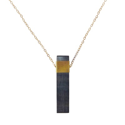 Natural Bar Pendant Necklace - Dark