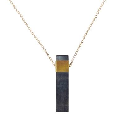 Natural Bar Pendant Necklace - Dark