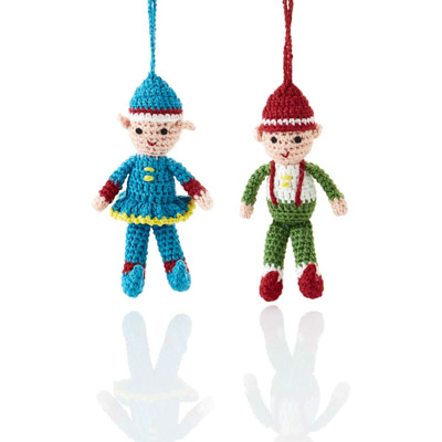 Crocheted Elves Ornament Set