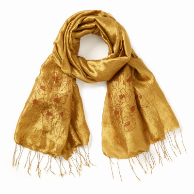 Gold Dust Wildflower Silk Scarf