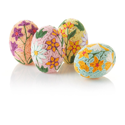 Spring Garden Quilled Eggs - Set of 4