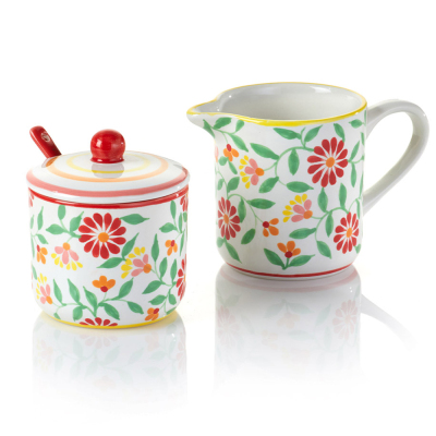 Sang Hoa Ceramic Sugar Pot & Creamer