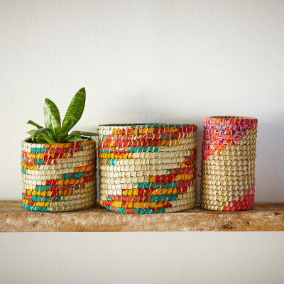 Chindi Swirl Plant Basket Set with FREE Vase
