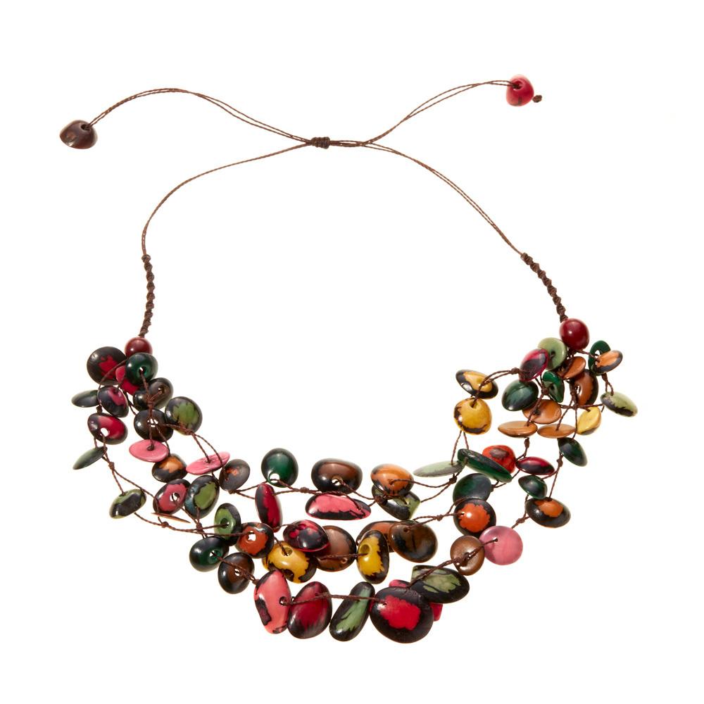 Vibrant Tagua Multi-Strand Necklace