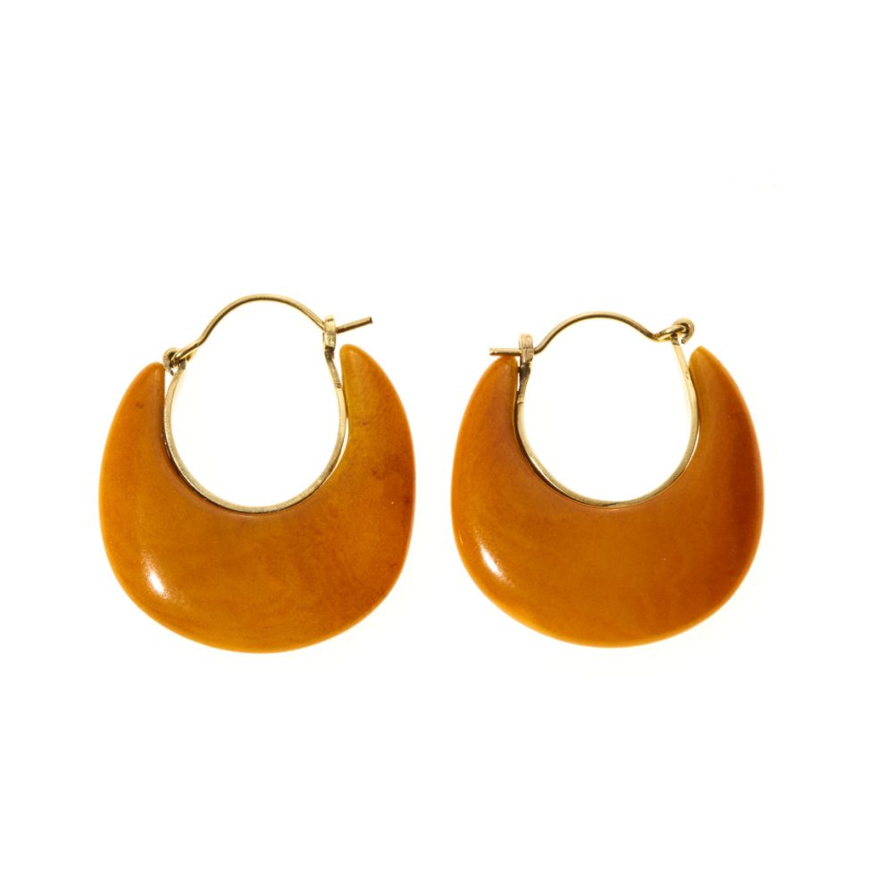Mustard Tagua Crescent Earrings