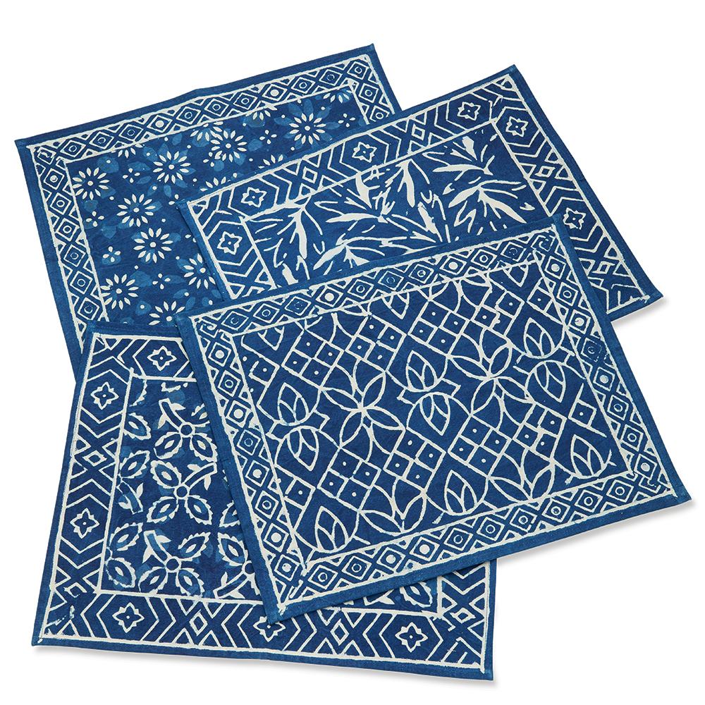 Indigo Dabu Block Print Placemats - Set of 4