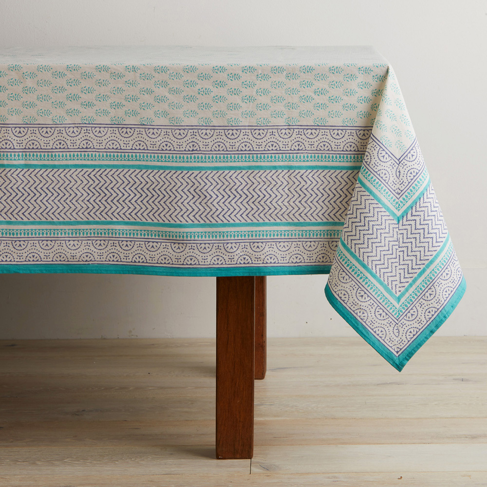 Aqua Sanganer Tablecloth