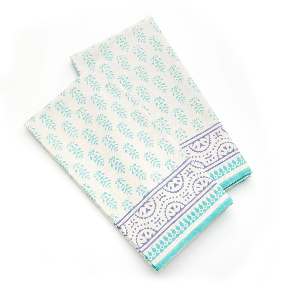 Aqua Sanganer Napkins, Set of 2