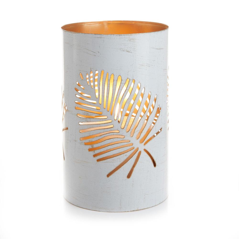 Large White Palm Metal Lantern
