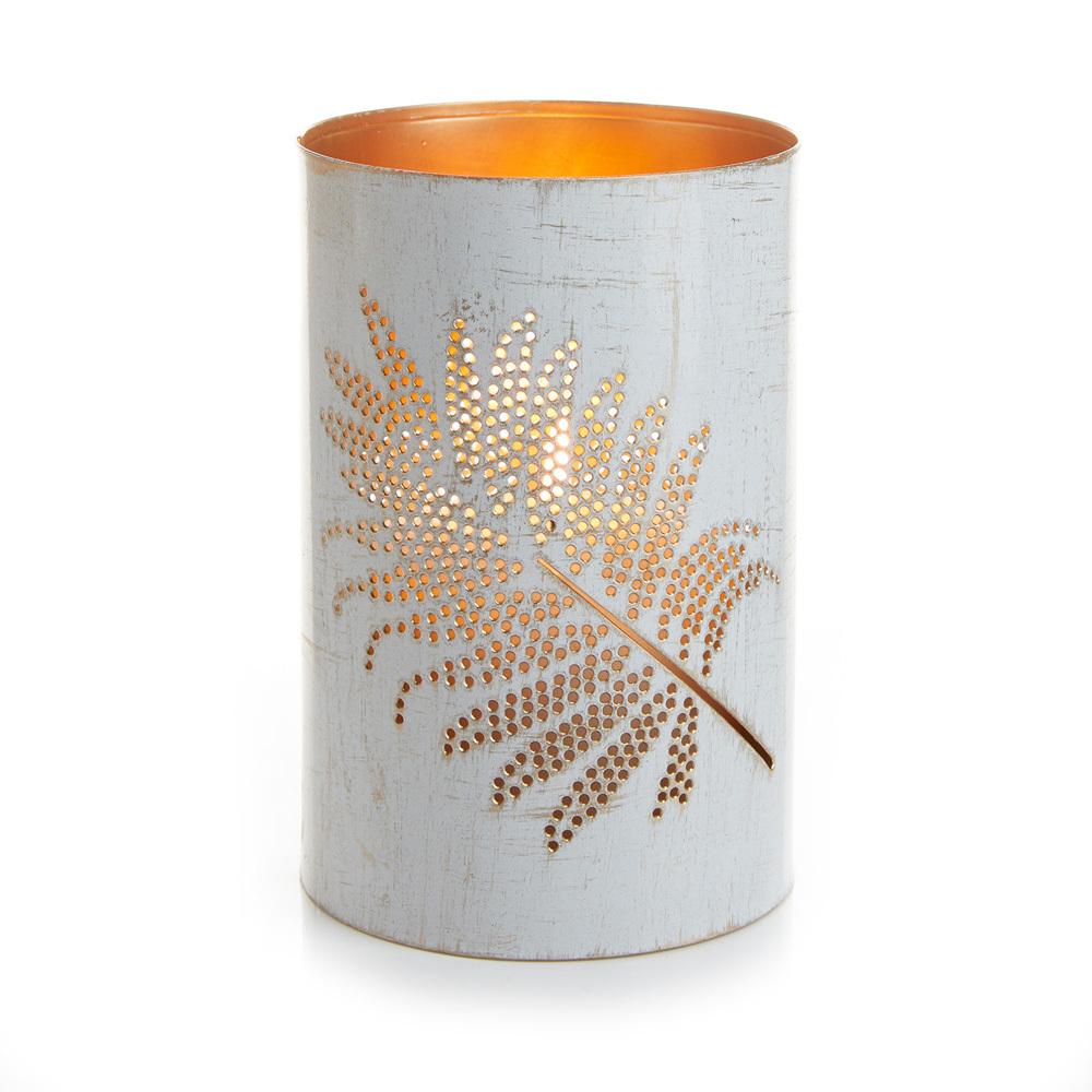 Medium White Speckled Palm Metal Lantern