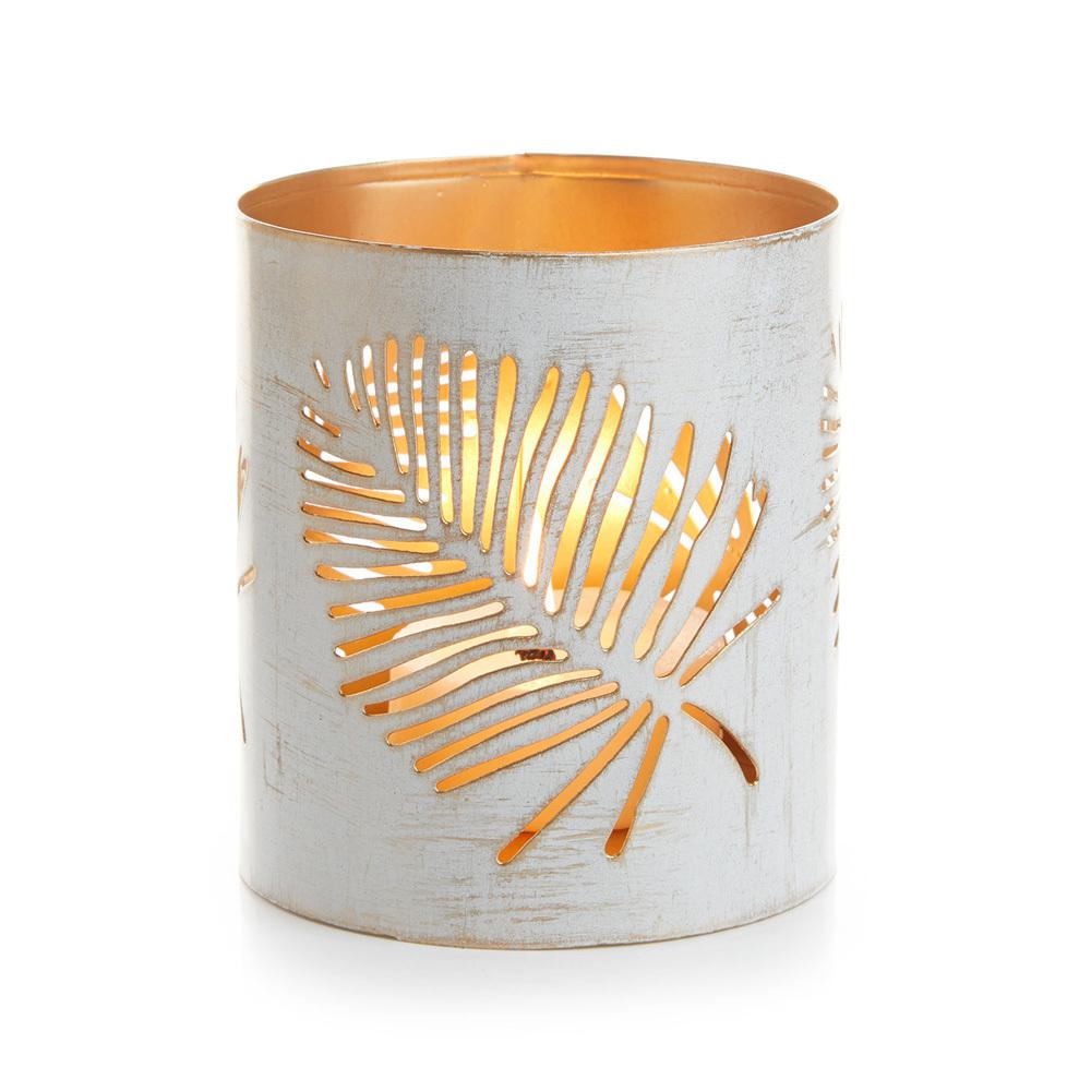 Small White Palm Metal Lantern