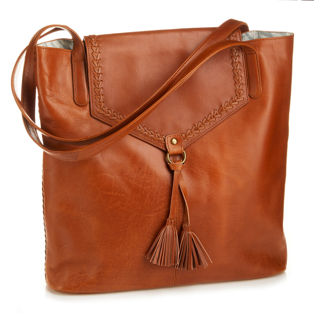 Laced Leather Tote - Camel
