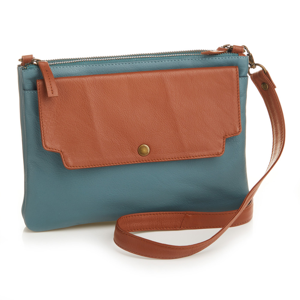 Two-Tone Leather Crossbody Bag