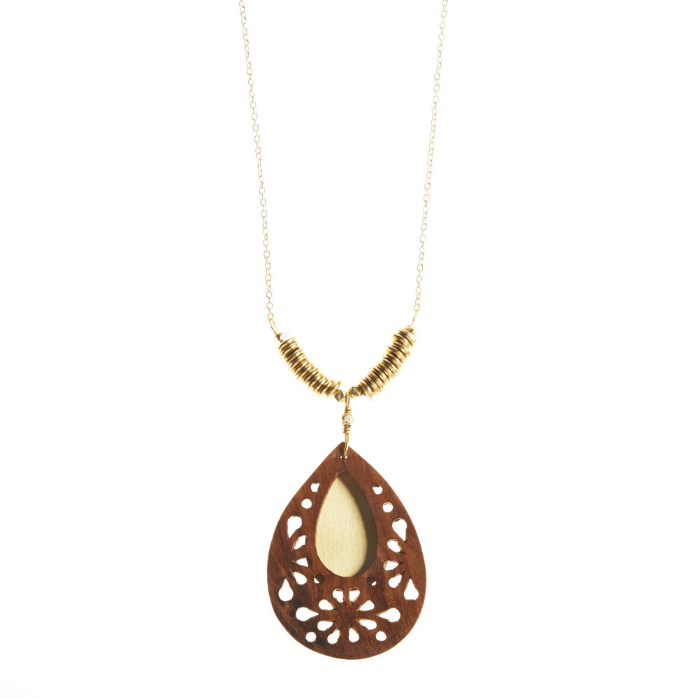 Woodflower Teardrop Pendant Necklace