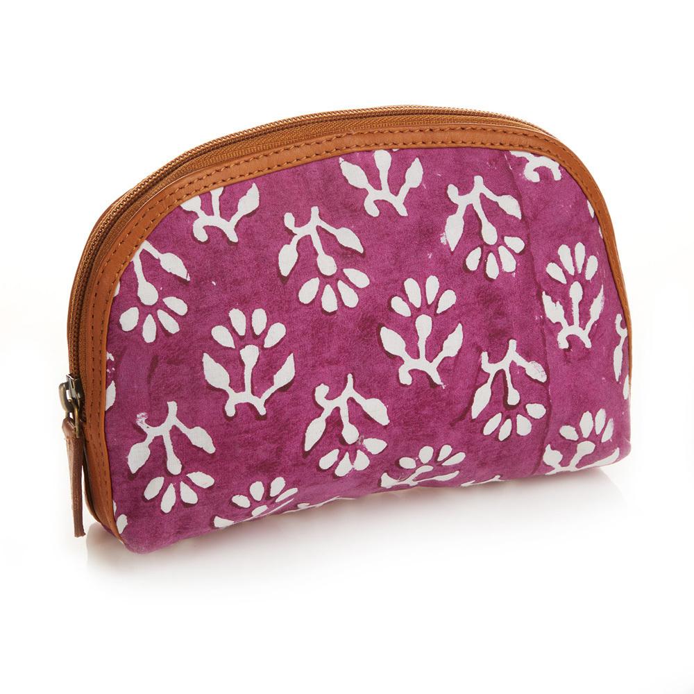 Magenta Floral Batik Zip Pouch