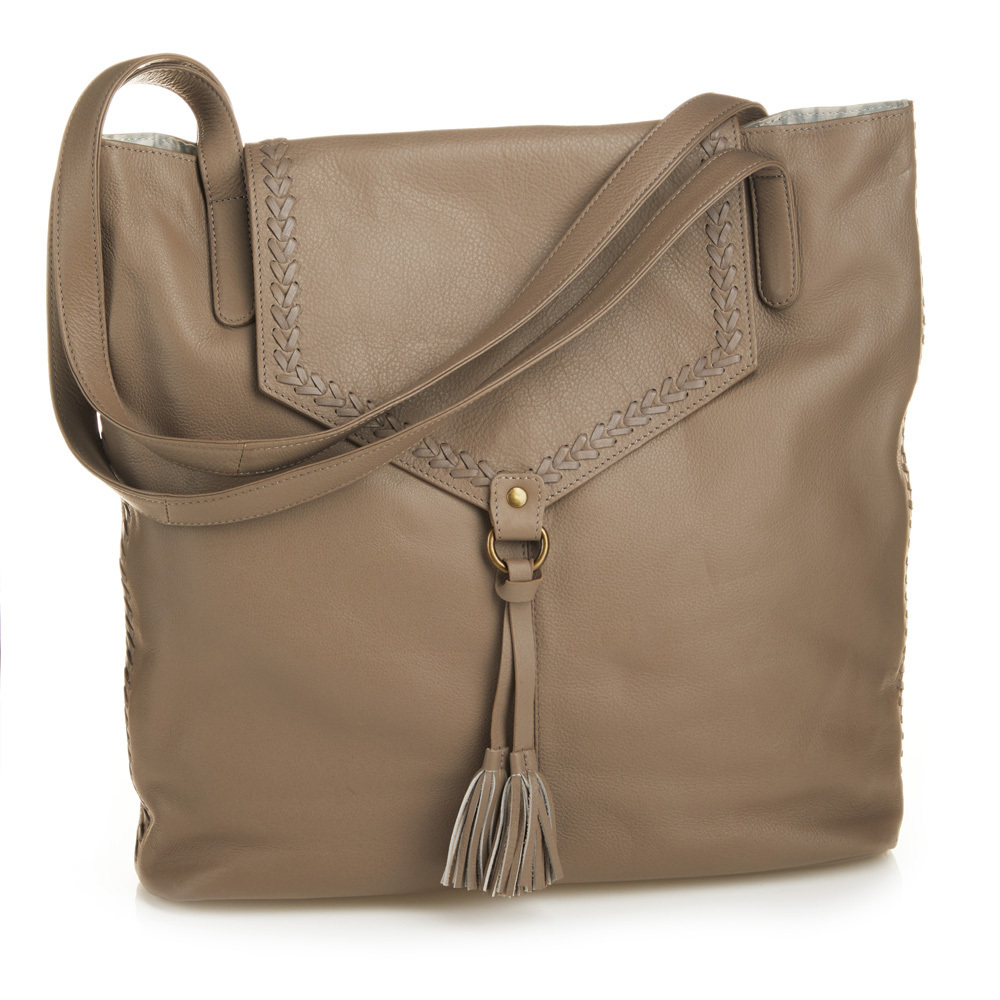 Laced Leather Tote - Taupe