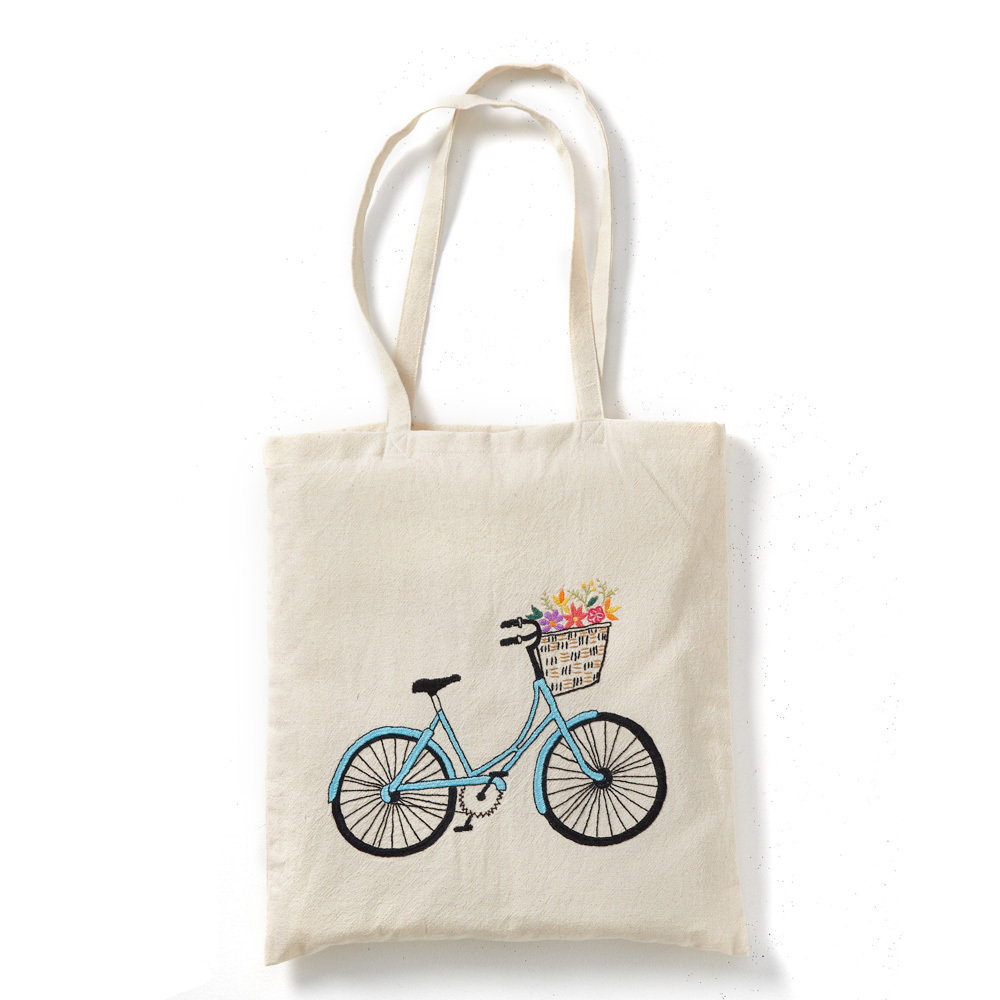 Embroidered Bicycle Tote Bag