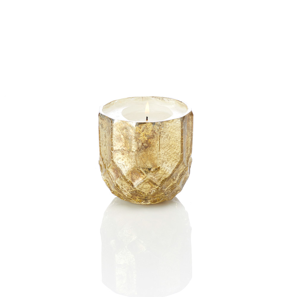 Gold Holiday Glass Candle Holder