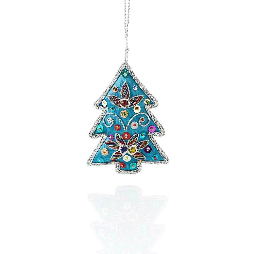 Blue Tree Zari Ornament