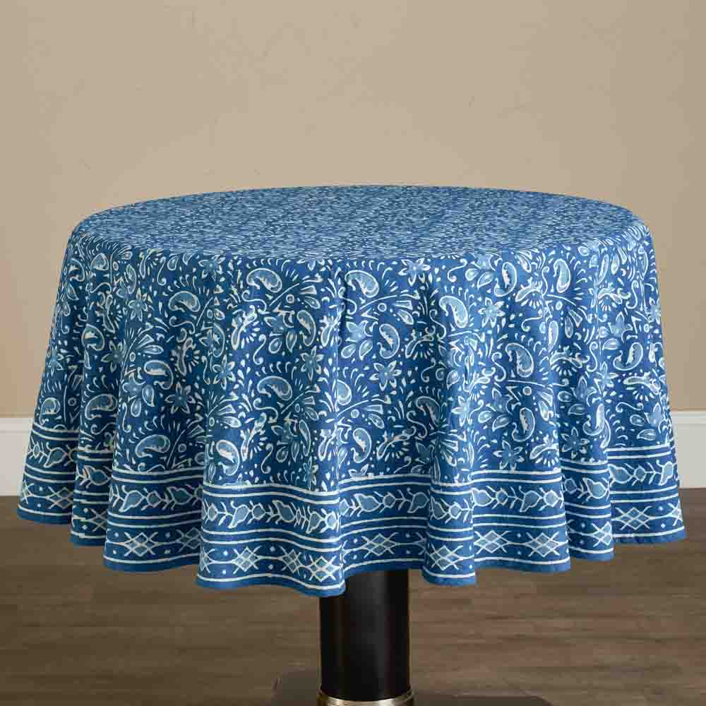Round Floral Indigo Tablecloth
