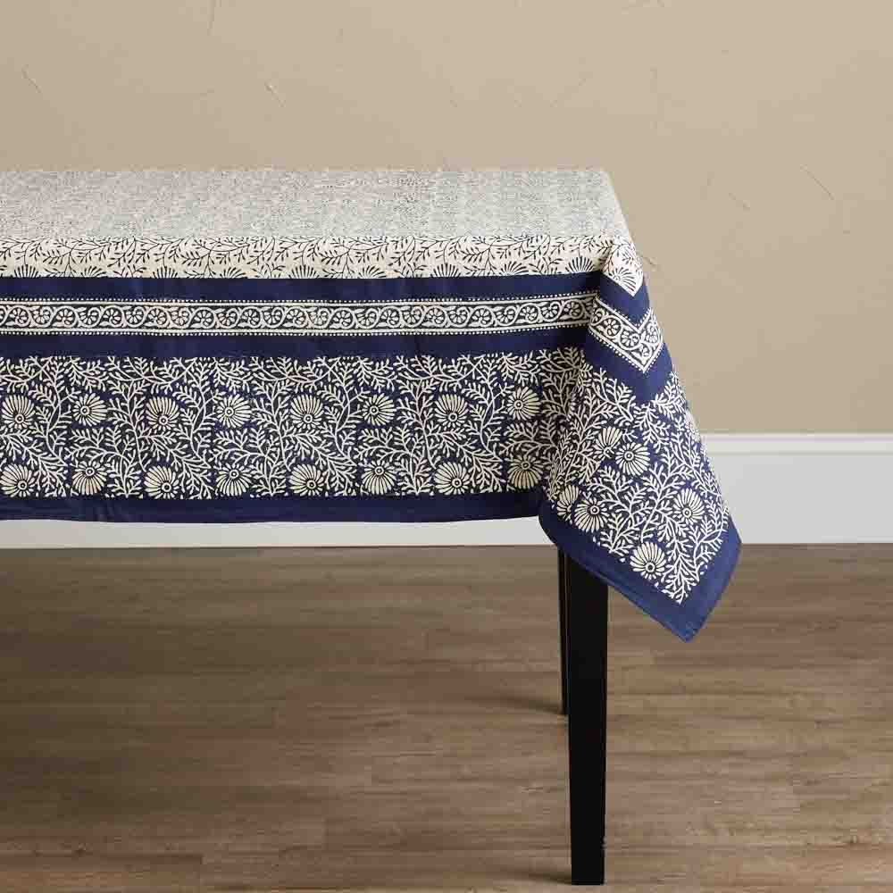 Navy Wildflower Tablecloth