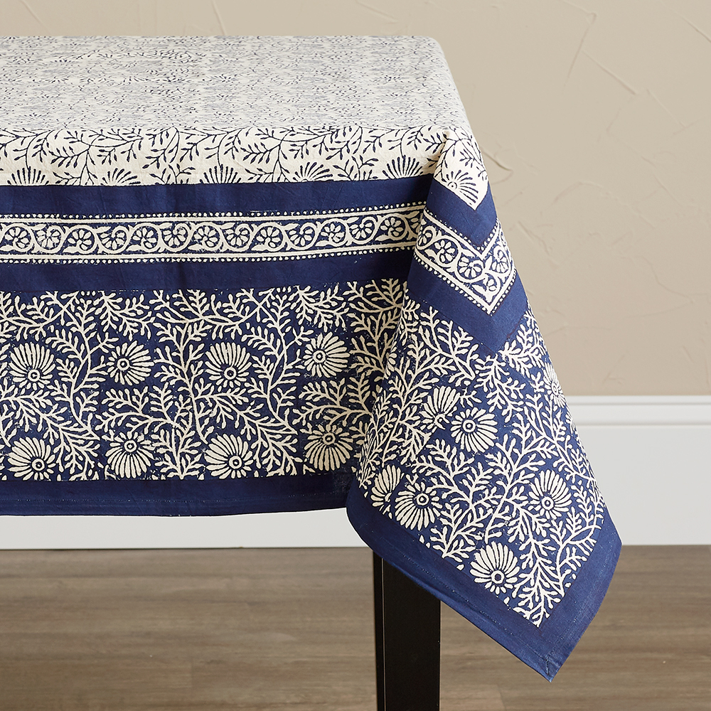 Wildflower Navy Tablecloth